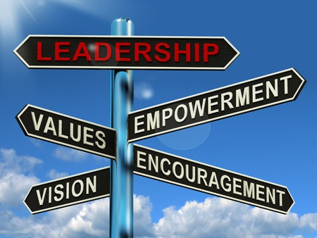Leadership Signpost Shows Vision Values Empowerment and Encouragement photo
