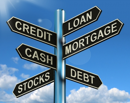 loans: Credit Loan Mortgage Signpost Shows Borrowing Finance And Debt