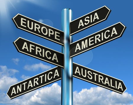 Europe Asia America Africa Antartica Australia Signpost Shows Continents For Travel Or Tourism Stock Photo - 13564619