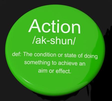 Botón de acción Definición Muestra interino o proactiva Foto de archivo - 13564247