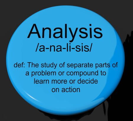Analysis Definition Button Shows Probing Study Or Examining Stock Photo - 13564317