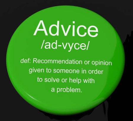 Advice Definition Button Shows Recommendation Help And Support photo