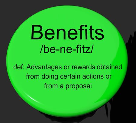 perks: Benefits Definition Button Shows Bonus Perks Or Rewards