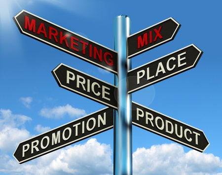 product mix: Marketing Mix Signpost With Place Price Product Plus Promotions