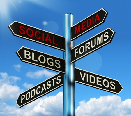 Social Media Signpost Showing Information Support And Communication Stock Photo