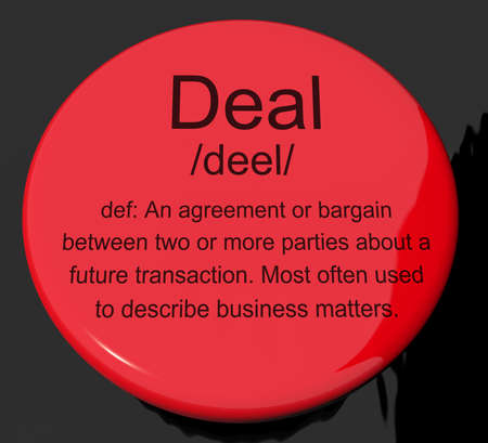 Deal Definition Button Shows Agreement Bargain Or Partnership Stock ...