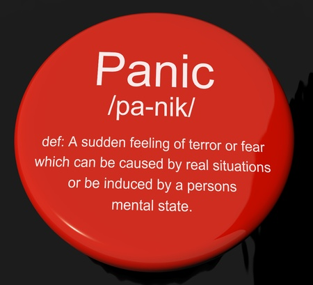 Panic Definition Button Shows Trauma Stress And Hysteria Stock Photo - 13564272