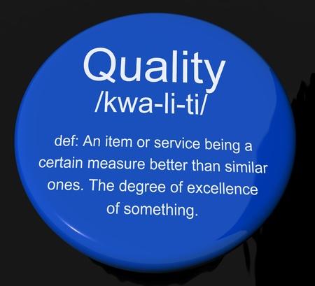 Quality Definition Button Shows Excellent Superior Premium Product Stock Photo - 13564293