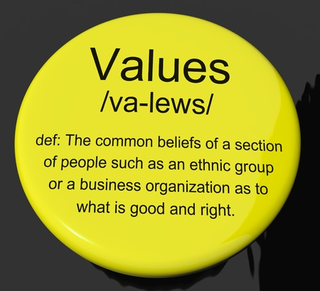 virtue: Values Definition Button Shows Principles Virtue And Morality Stock Photo
