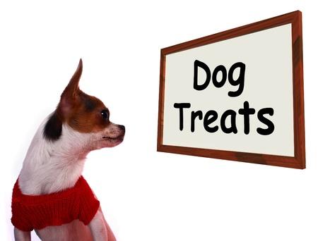 treats: Iniciar sesión Golosinas para perros Muestra Canina recompensas o meriendas Foto de archivo