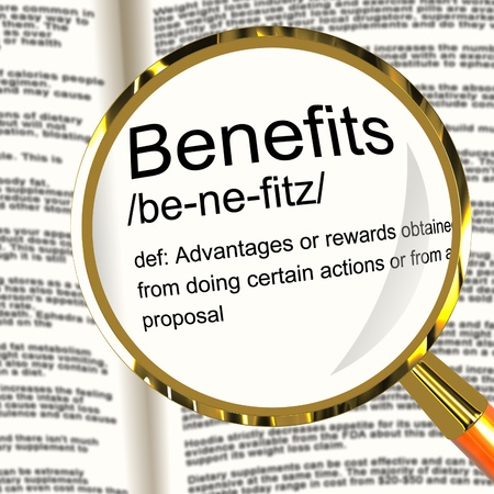 perks: Benefits Definition Magnifier Shows Bonus Perks Or Rewards