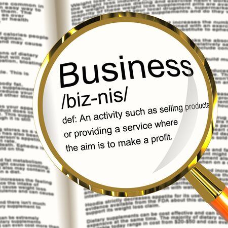 Business Definition Magnifier Shows Commerce Trade Or Company Stock Photo - 13564496