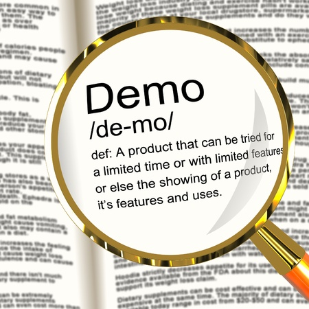 demo: Demo Definition Magnifier Shows Demonstration Of Software Application Or Product Stock Photo