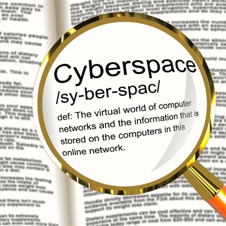 Cyberspace Definition Magnifier Shows Virtual World Of Online Networks photo