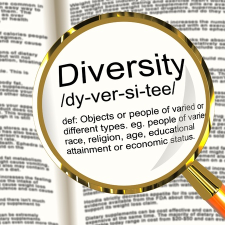 Diversity Definition Magnifier Shows Different Diverse And Mixed Race Stock Photo - 13564581