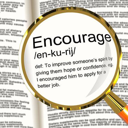 reassurance: Fomentar Definici�n Lupa Muestra inspiraci�n motivaci�n y confianza Foto de archivo
