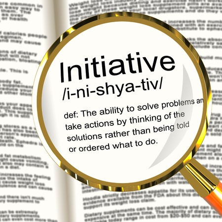 Initiative Definition Magnifier Shows Leadership Resourcefulness And Action