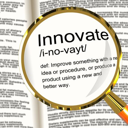 Innovate Definition Magnifier Shows Creative Development And Ingenuity Stock Photo - 13564494