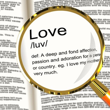 Love Definition Magnifier Shows Loving Valentines And Affection photo