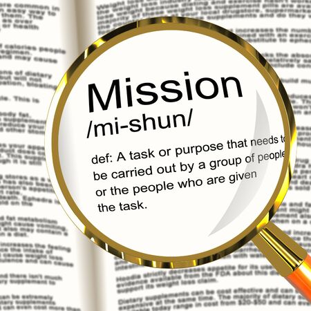 assignment: Mission Definition Magnifier Shows Task Goal Or Assignment To Be Done Stock Photo
