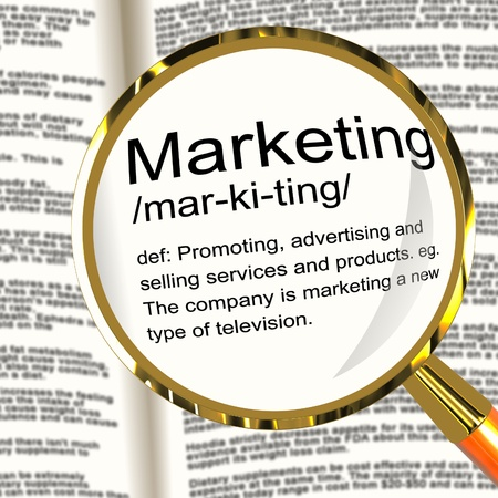 Marketing Definition Magnifier Shows Promotion Sales And Advertising photo