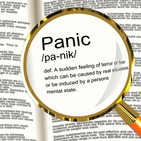 Panic Definition Magnifier Shows Trauma Stress And Hysteria Stock Photo - 13564461
