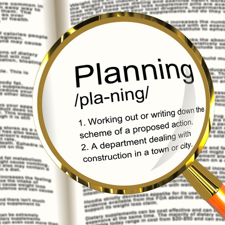 organising: Planning Definition Magnifier Shows Organizing Strategy And Scheme