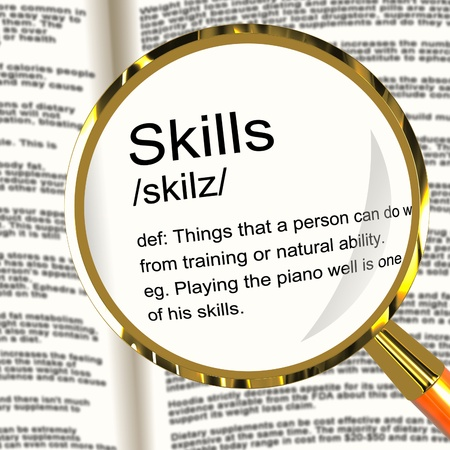 unskilled: Skills Definition Magnifier Shows Aptitude Ability And Competence
