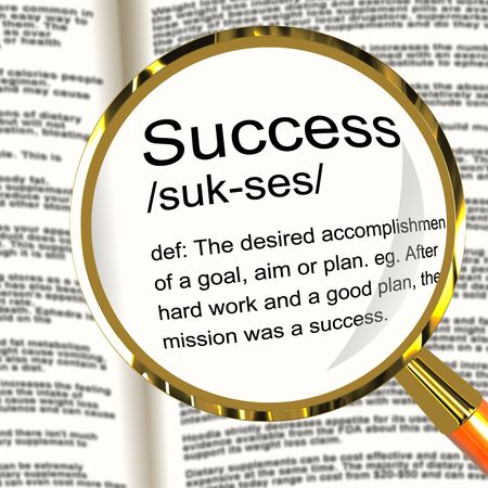 attainment: Success Definition Magnifier Shows Achievements Or Attainment Of Wealth Stock Photo