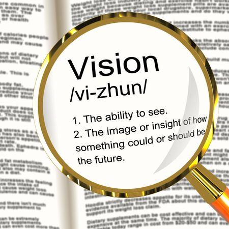 eyesight: Vision Definition Magnifier Shows Eyesight Or Future Goals