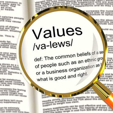 virtue: Values Definition Magnifier Shows Principles Virtue And Morality