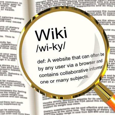collaborative: Wiki Definition Magnifier Shows Online Collaborative Community Encyclopedia Stock Photo