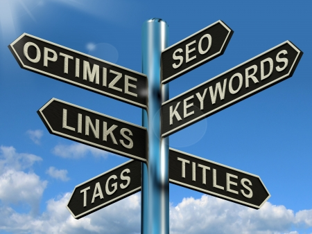 keywords link: Seo Optimize Keywords Links Signpost Showing Website Marketing Optimization Stock Photo