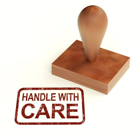 Handle With Care Stamp Showing Fragile Product