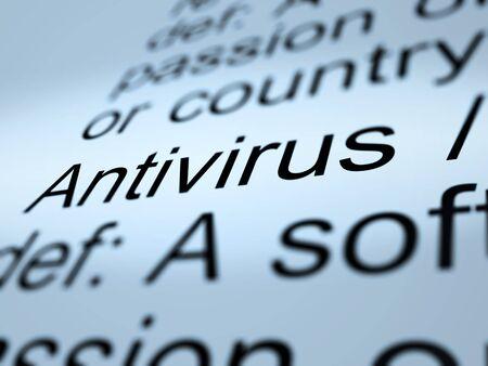 Antivirus Definition Closeup Shows Computer System Security photo