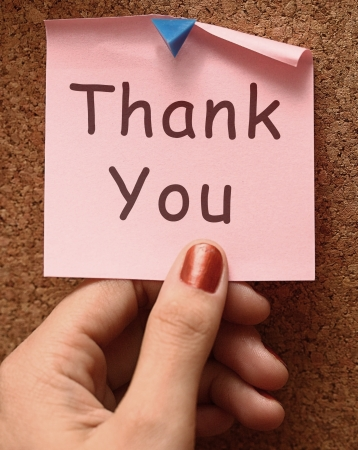 thankfulness: Thank You Note As Pink Thanks Message Stock Photo