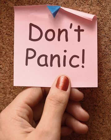 Don't Panic Note Meaning No Panicking Or Relaxing  Stock Photo - 13965479