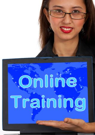 elearn: Online Training Computer Message Showing Web Learning And Education Stock Photo