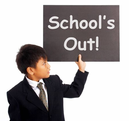 School's Out Sign Showing Holiday From Classes photo