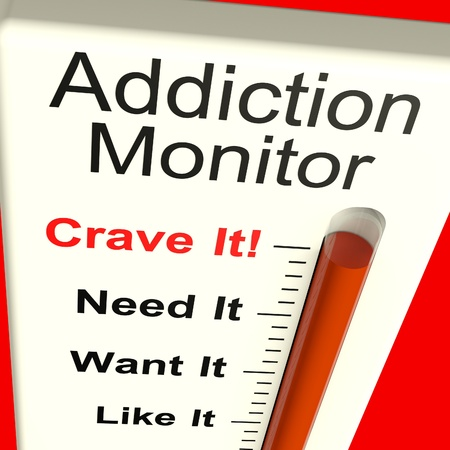 medicijn: Verslaving monitor toont Craving and Substance Misstanden Stockfoto