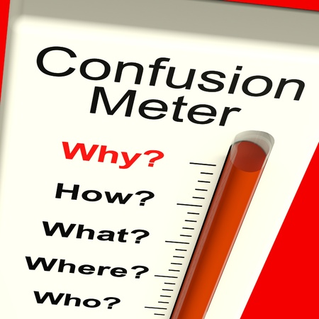 unanswered: Confusion Meter Showing Indecision And Dilema Stock Photo