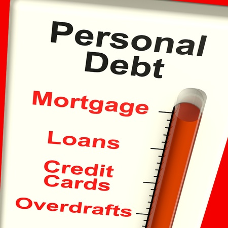overdraft: Personal Debt Meter Showing Mortgage Credit And Loans