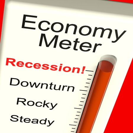 Economy Meter Shows Recession and Downturn Stock Photo - 13965347