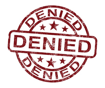 refusal: Denied Stamp Showing Rejection Decline Or Refusal Stock Photo