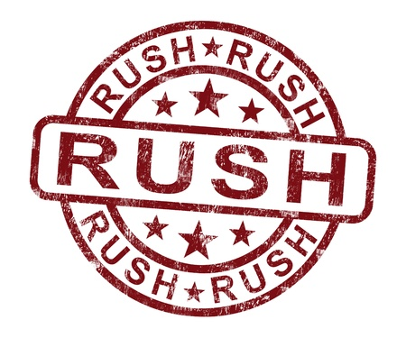 Rush Stamp Shows Speedy Urgent Express Delivery photo