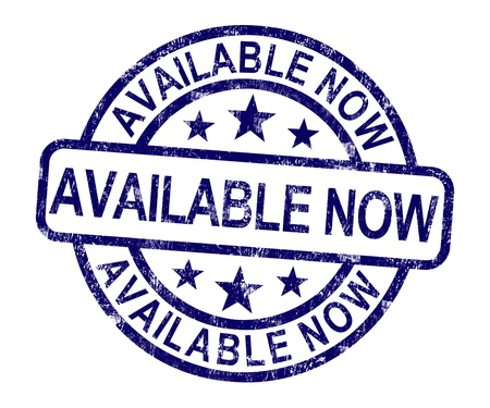 or now: Available Now Rubber Stamp Showing In Stock Today Stock Photo