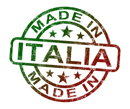 rendu: Made In Italia timbre indiquant le produit ou produire � partir en Italie Banque d'images