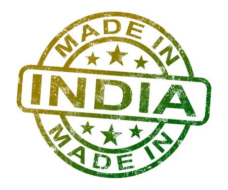 gemaakt: Gemaakt in India stempel met Indiase Product of produceren