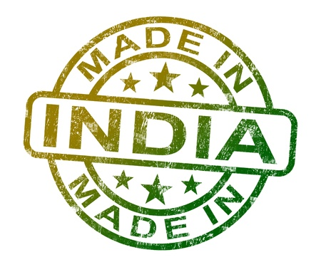 Made In India Stamp Showing Indian Product Or Produce photo