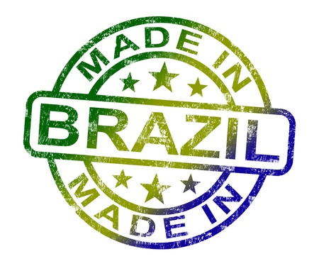 made in: Made In Brazil Stamp Showing Brazilian Product Or Produce Stock Photo
